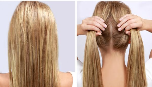 Разделение волос сзади на две части