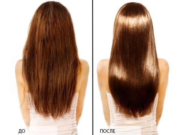 Волосы до и после применения маски из яиц