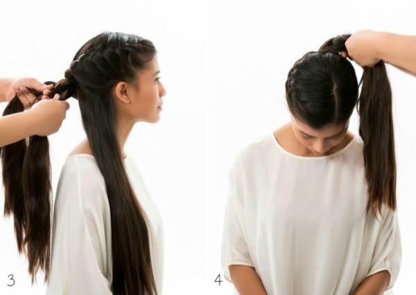 Как сделать гульку из закрученной косы: шаг 3-4