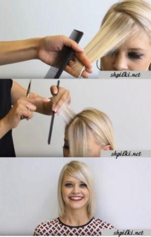 Процесс стрижки косой челочки набок