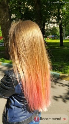 Розовое омбре/персоковое омбре/цветное омбре на русых волосах