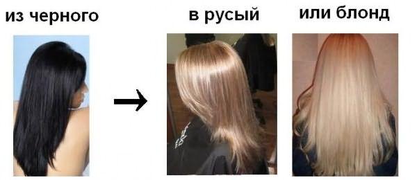 На фото – волосы до и после применения блондорана