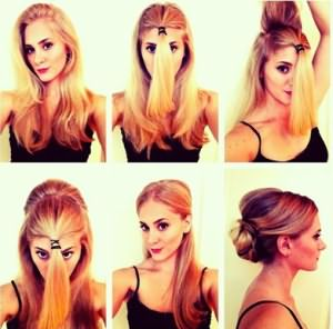 Создание пучка на волосах длиной до уровня плеч