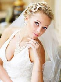 Свадебные прически на средние волосы с фатой4