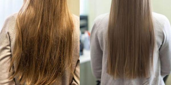 Волосы девушки до и после процедуры биоламинирования