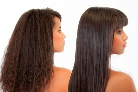 Фото волос до и после применения утюжка