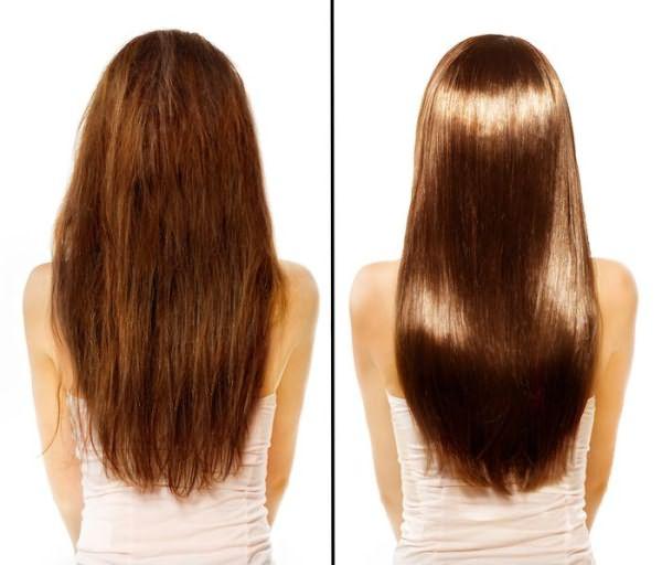 Профессиональная обработка волос кератином: поврежденные волосы и насыщенные белком.