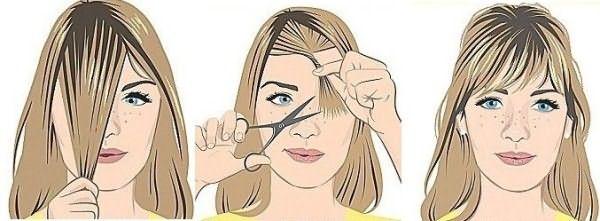 Волосы скручиваются в жгутик по центру, кончики срезаются