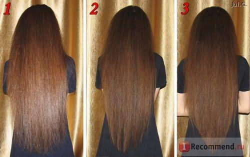 1 - до применения, 2 - нанесение на влажные волосы, 3 - нанесение на сухие волосы