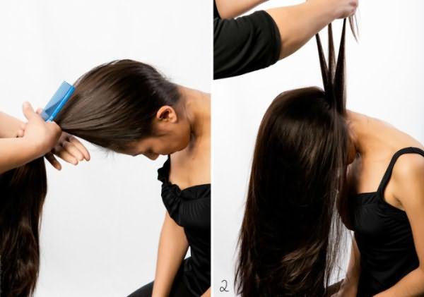 Выполнение высокого пучка с косой на затылке: шаг 1-2