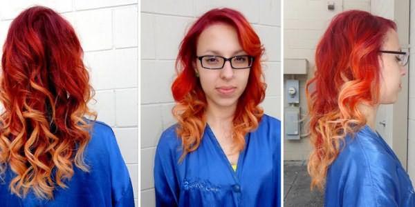 омбре на рыжих волосах