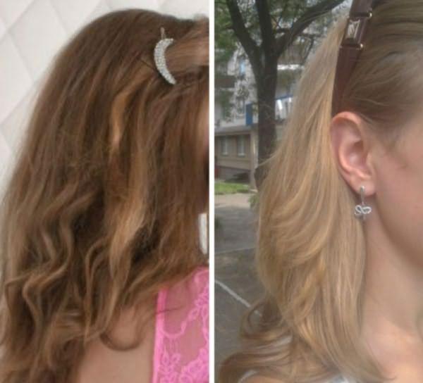 Волосы до и после обесцвечивания перекисью