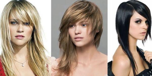 Девушки с асимметричными стрижками на длинных волосах