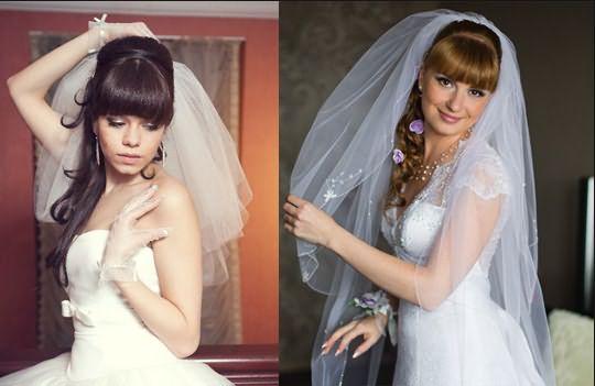 Свадебные образы с челкой и фатой