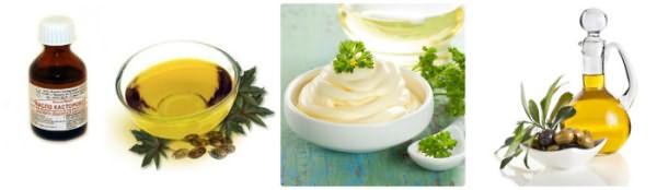 Касторовое и оливковое масло, майонез