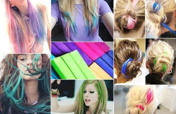 Художественная пастель или специальные мелки подходят тем, кто имеет светлые волосы или осветленные кончики