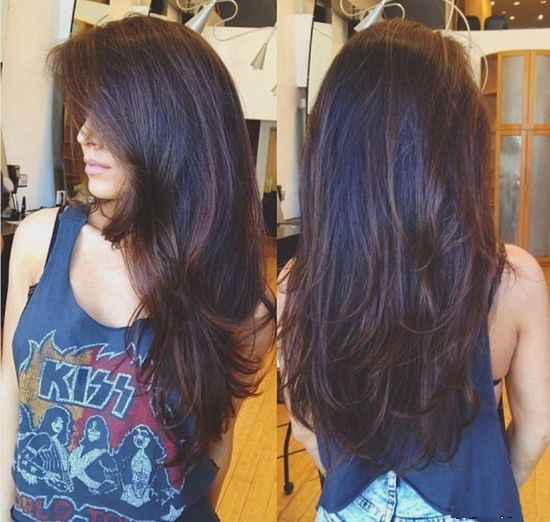 Лесенка на длинные волосы, вид сзади