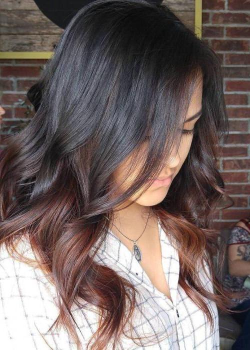 покраска на длинные темные волосы