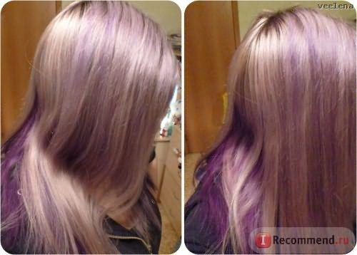 Целые фиолетовые полосы у корней и по длине