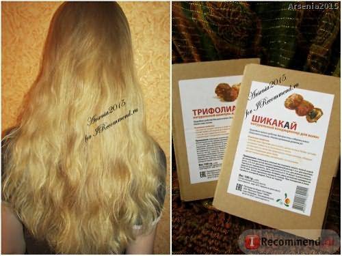 Волосы после сухого шампуня Трифолиатус и сухого кондиционера Шикакай (совсем немного влажные)