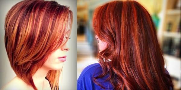 Пряди красного оттенка на рыжих волосах