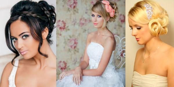 Варианты свадебных укладок на средние волосы с челкой