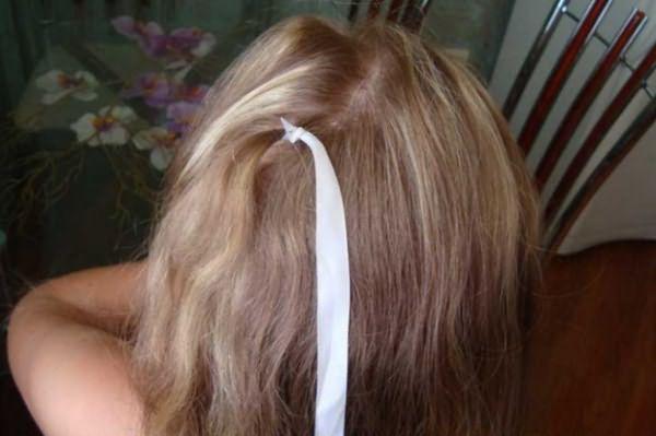 Создание косы-зигзаг с лентой: шаг 1