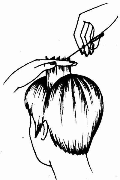 заключительный этап стрижки «маленькая головка» филировка волос методом пойнтинг