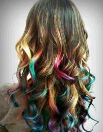 цветное мелирование на темные волосы