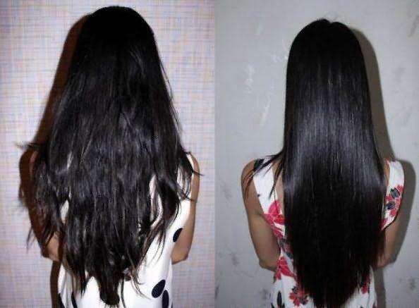 Выпрямление волос: до и после