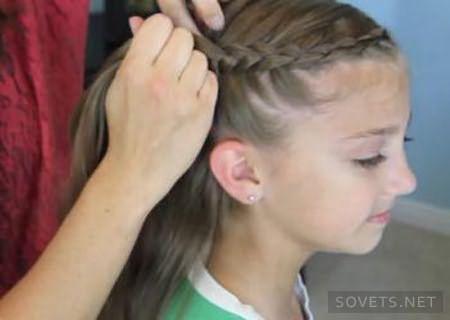 Коса-цветок - схема плетения - шаг 1
