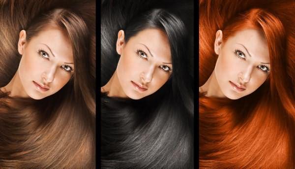 Девушка с каштановым, черным и рыжим цветом волос