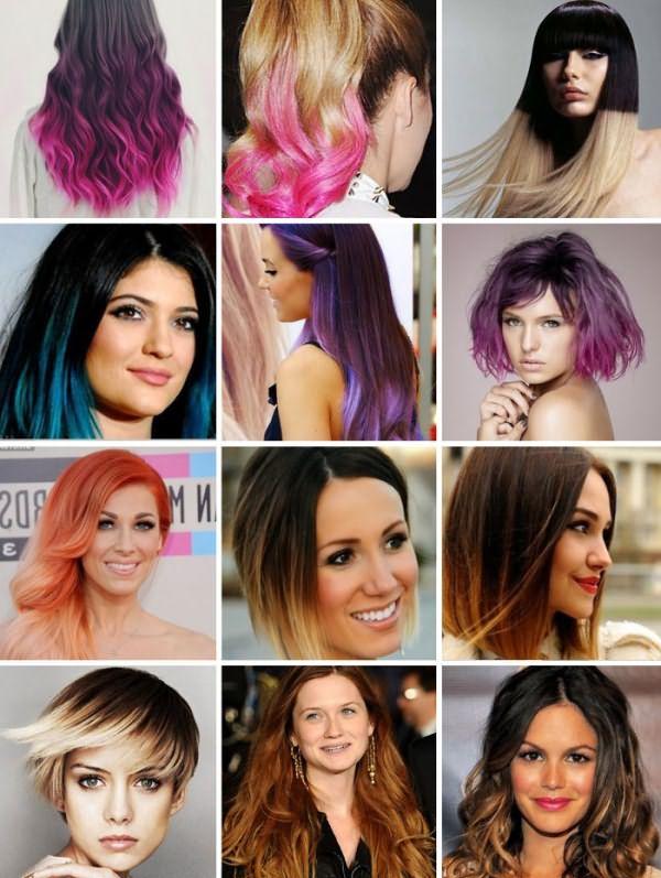 Переходы цветов на темных волосах разной длины
