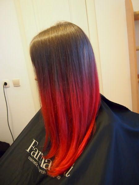 Красное омбре на каштановых волосах