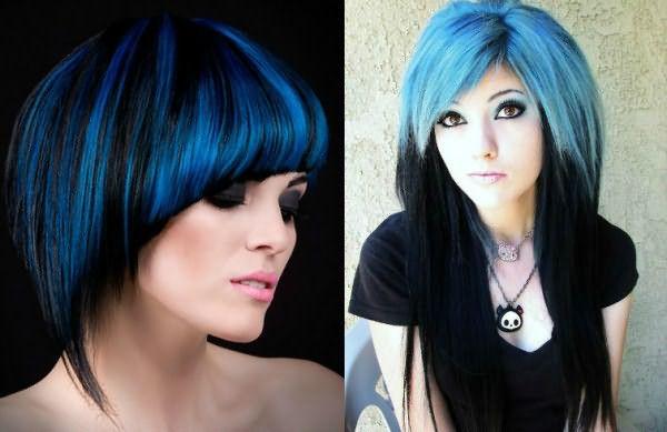 Обратное омбре на крашенные волосы насыщенного голубого оттенка