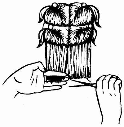 деление волос на зоны и укорачивание волос при французской стрижке