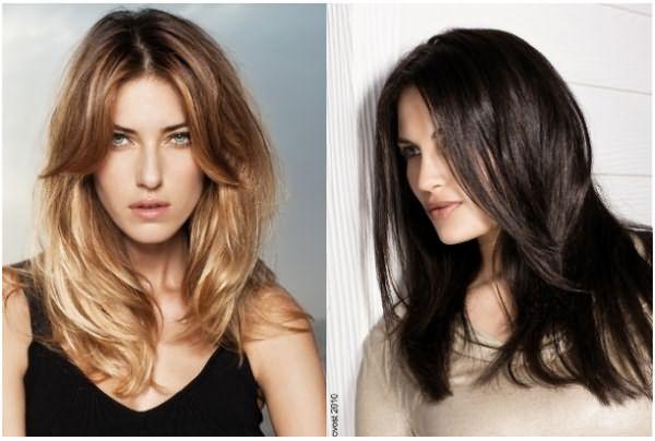 Длинные волосы с градуированной стрижкой