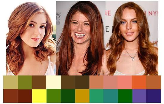 Палитра макияжа для рыжего цвета волос