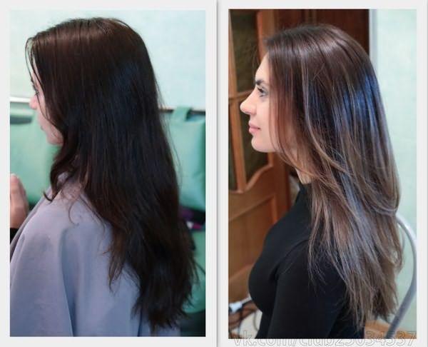 фото тонирование темных волос
