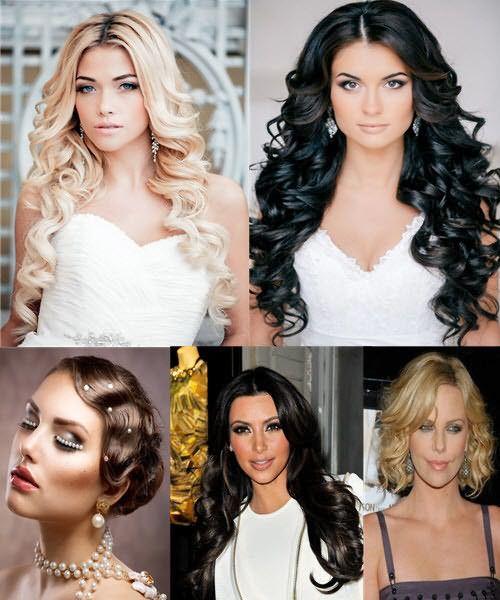 На фото - завитки-волны различного типа и на разной длине волос