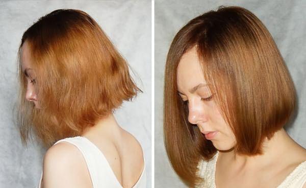 Результат бразильского выпрямления волос