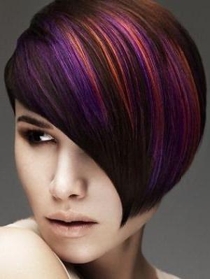 мелирование на темные короткие волосы с челкой