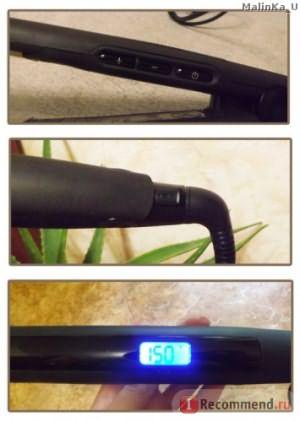 сверху вниз: кнопки регулировки температуры и вкл/выкл, кнопка блокировки, цифровой индикатор нагрева