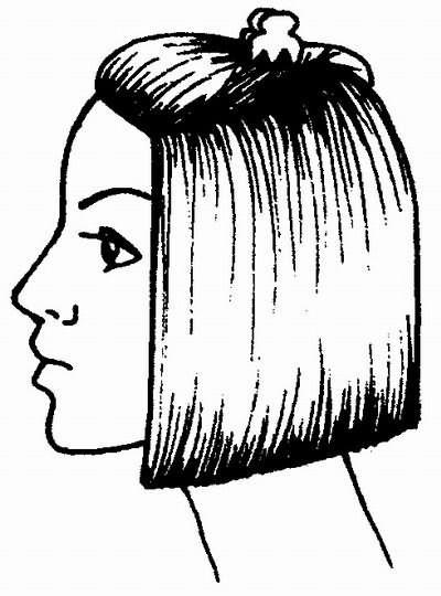 волосы, предназначенные для челки, заколите