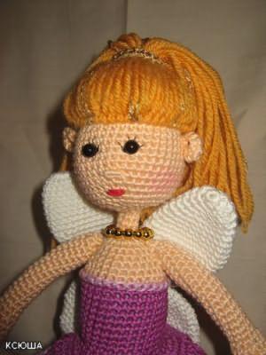 как сделать вязаной кукле волосы из ниток