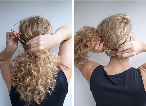 Хвост на кудрявые волосы