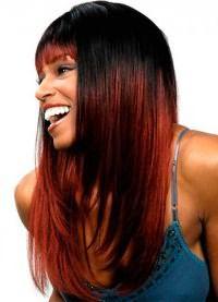 красные пряди на темных волосах 1