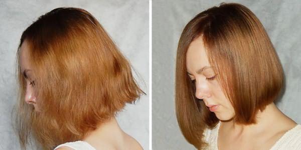 Волосы до и после желатинового ламинирования