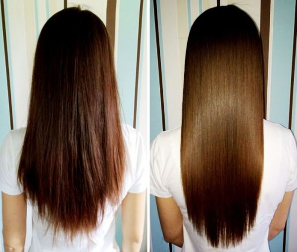 Волосы девушки до и после применения масок