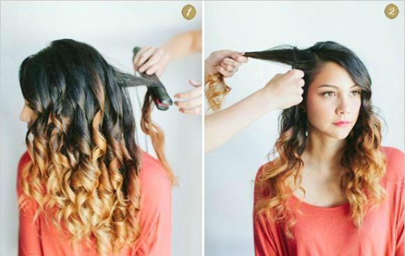 Создание прически с кудрями на бок и косой: шаг 1-2